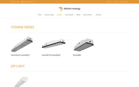 Screenshot of Products Page delviroledlighting.ca - Products - delviro energy inc. - captured Nov. 3, 2014