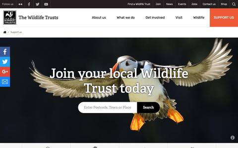 Screenshot of Signup Page wildlifetrusts.org - Support us | The Wildlife Trusts - captured Oct. 3, 2018