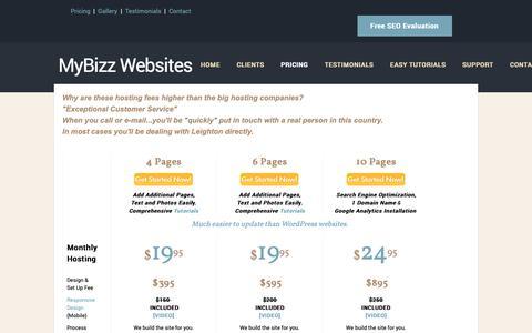 Screenshot of Pricing Page mybizzwebsites.com - $395 Custom Websites - MyBizz Websites in Beverly, MA - captured Oct. 19, 2018