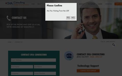 Screenshot of Contact Page sva.com - SVA Consulting - Contact Us (800) 366-9091 | Madison Milwaukee Appleton WI - captured Nov. 13, 2018