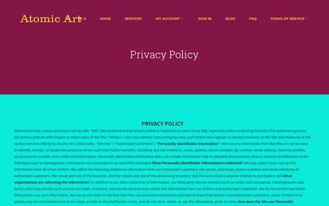 Screenshot of Privacy Page atomicart.com.au - Privacy Policy | - captured Jan. 30, 2018
