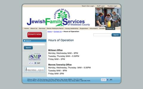 Screenshot of Hours Page jfvs.org - Hours of Operation | Jewish Family Services - captured Oct. 6, 2014