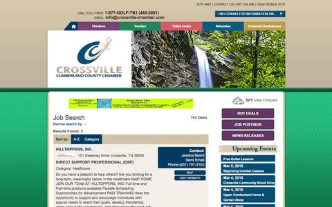 Screenshot of Jobs Page crossville-chamber.com - Job Search - Crossville Chamber - Membership Directory - captured March 4, 2016