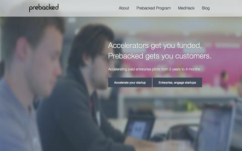 Screenshot of Home Page prebacked.com - Accelerating startups with corporate contracts | Prebacked - captured Sept. 30, 2014
