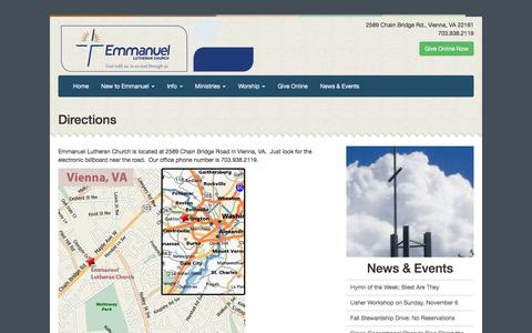 Screenshot of Maps & Directions Page elcvienna.org - Directions «  Emmanuel Lutheran Church - captured Nov. 6, 2016