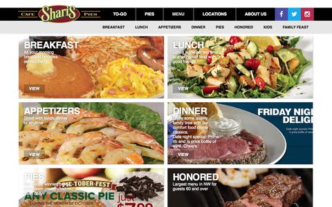 Screenshot of Menu Page sharis.com - Shari's Cafe and Pies | Menu - captured Oct. 26, 2014