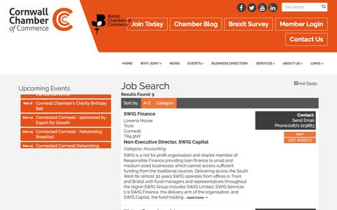 Screenshot of Jobs Page cornwallchamber.co.uk - Job Search - Cornwall Chamber of Commerce - captured Sept. 29, 2018