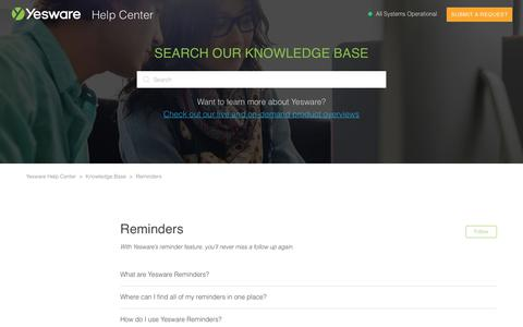 Screenshot of Support Page yesware.com - Reminders – Yesware Help Center - captured July 12, 2019