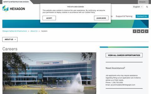 Screenshot of Jobs Page hexagonsafetyinfrastructure.com - Careers | Hexagon Safety & Infrastructure - captured Jan. 4, 2020