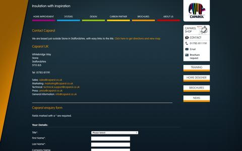 Screenshot of Contact Page caparol.co.uk - Caparol - Contact - captured Oct. 1, 2014