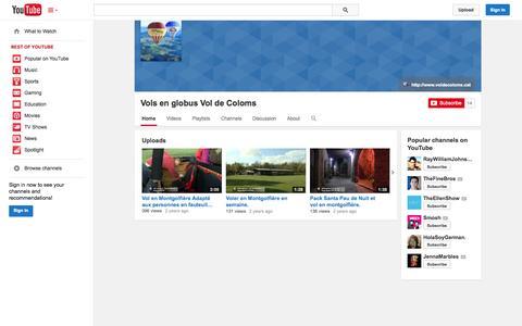 Screenshot of YouTube Page youtube.com - Vols en globus Vol de Coloms  - YouTube - captured Oct. 29, 2014