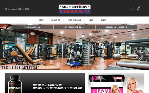 Screenshot of Home Page nutritionwarehouse.ca - Nutrition Warehouse Canada - captured Oct. 22, 2017