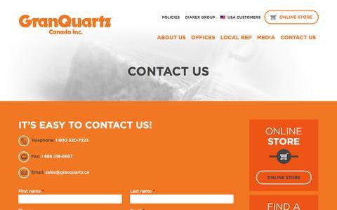Screenshot of Contact Page granquartz.ca - Contact us - GranQuartz - captured Oct. 27, 2014