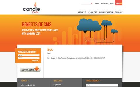 Screenshot of Terms Page candledata.com - Candle Data - Legal - captured Sept. 27, 2014