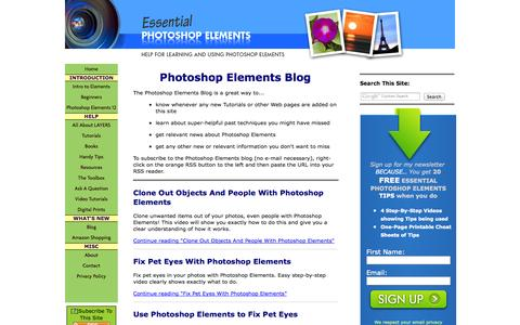 Screenshot of Blog essential-photoshop-elements.com - Photoshop Elements Blog - captured Oct. 30, 2014