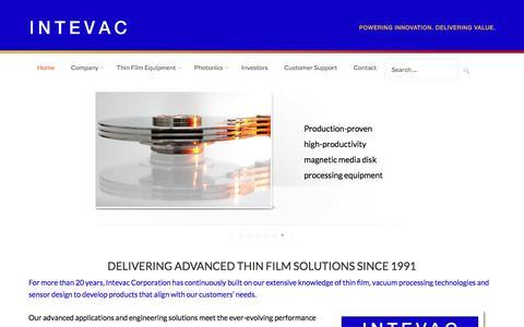 Screenshot of Home Page intevac.com - Intevac Corporation Home Page - captured Aug. 6, 2016