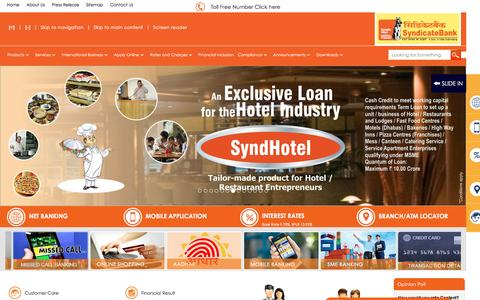 Screenshot of Home Page syndicatebank.in - Syndicate Bank- home - captured Dec. 20, 2015