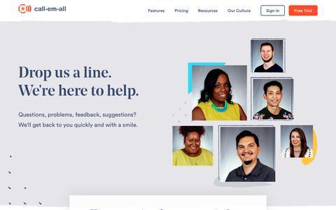 Screenshot of Contact Page call-em-all.com - Contact Us @ Call-Em-All - captured Nov. 1, 2019