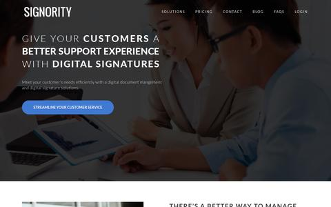 Screenshot of Support Page signority.com - Small businesses document management and digital signature solutions - captured Nov. 20, 2016