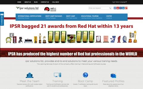 Screenshot of Home Page ipsrglobal.com - Red Hat Linux Training, CISCO Training, Certifications - Boot camps in India | IPSR - captured April 22, 2016