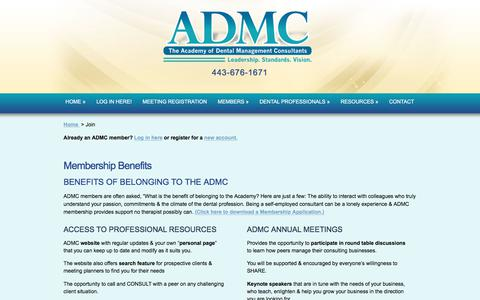 Screenshot of Signup Page admc.net - The Academy of Dental ADMC Management Consultants - captured Oct. 7, 2017