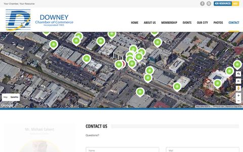 Screenshot of Contact Page downeychamber.com - Contact - Downey Chamber of Commerce - captured Nov. 9, 2016