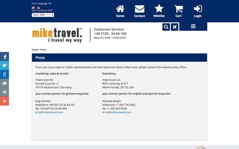 Screenshot of Press Page mike-travel.com - Press - captured Oct. 9, 2014