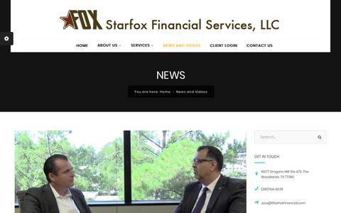 Screenshot of Press Page starfoxfinancial.com - News and Videos - Starfox Financial Services, LLC - captured Nov. 17, 2018