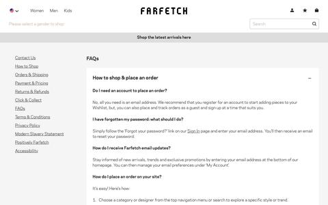 Screenshot of FAQ Page farfetch.com - Frequently Asked Questions - FAQs - Customer Service - Farfetch - captured Feb. 23, 2020