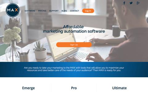 Screenshot of Pricing Page marketwithmax.com - Pricing guide for MAX: Marketing Automation. Executed. - captured Nov. 17, 2016