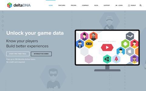 Screenshot of Home Page deltadna.com - deltaDNA Game Analytics & Marketing - deltadna.com - captured June 16, 2015