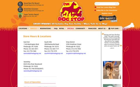 Screenshot of Hours Page thedogstop.net - The Dog Stop | Store Hours & Locations - captured Oct. 7, 2014