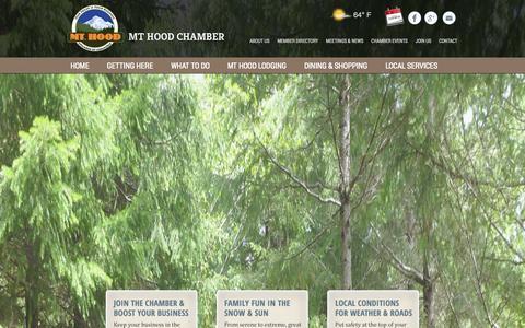 Screenshot of Home Page mthoodchamber.com - Home   MT HOOD Chamber of Commerce - captured Oct. 6, 2014