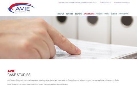 Screenshot of Case Studies Page avie-consulting.co.uk - AVIE Case Studies - AVIE Consulting - captured Oct. 4, 2018