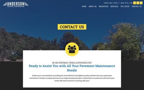 Screenshot of Contact Page andersonstriping.com - Contact Us | Anderson Striping - CA, UT, OR, NV, AZ, WA - captured Oct. 3, 2018