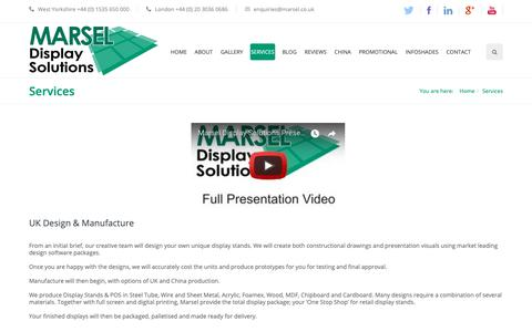 Screenshot of Services Page marsel.co.uk - Marsel : Designers & Suppliers : Custom Retail Display Stands - captured Oct. 17, 2018