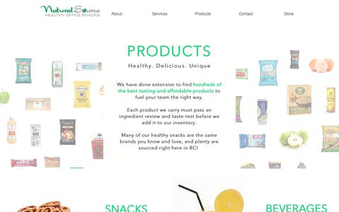 Screenshot of Products Page naturalsourcesnacks.ca - Healthy Products | Natural Source Healthy Office Snacks | Vancouver - captured Oct. 18, 2018