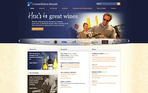Screenshot of Home Page cbrands.com - Constellation Brands- Premium Wine, Beer and Spirits Company - captured Sept. 23, 2014