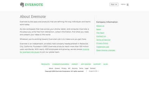 Screenshot of About Page evernote.com - About Evernote | Evernote - captured Oct. 28, 2014