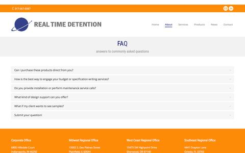 Screenshot of FAQ Page realtimedetention.com - Prison Facility Product Info, Correctional Facility Services - captured Feb. 26, 2016