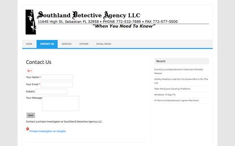 Screenshot of Contact Page southlanddetectiveagency.com - Contact Private Investigator - captured Feb. 25, 2016