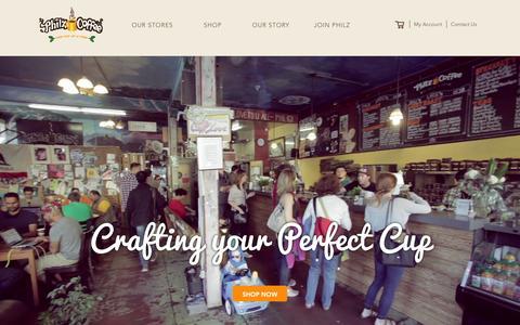 Screenshot of Home Page philzcoffee.com - Philz Coffee - captured Jan. 20, 2016
