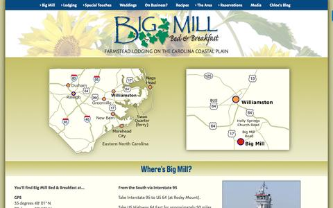 Screenshot of Maps & Directions Page bigmill.com - B&B Lodging near the Outer Banks Ferry to Ocracoke NC - captured Nov. 22, 2016