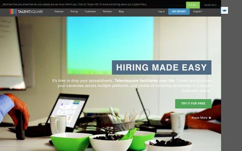 Screenshot of Home Page talentsquare.com - Applicant Tracking System | Recruiting & Sourcing Software - captured July 25, 2016