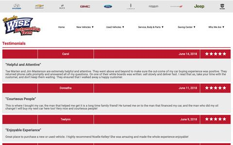 Screenshot of Testimonials Page randywiseauto.com - Customer Reviews, Testimonials - Randy Wise Auto - captured Nov. 18, 2018