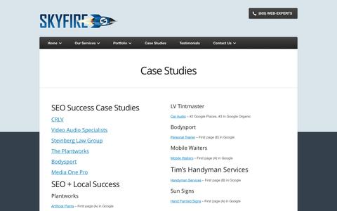 Screenshot of Case Studies Page skyfireusa.com - Case Studies - captured Sept. 30, 2014