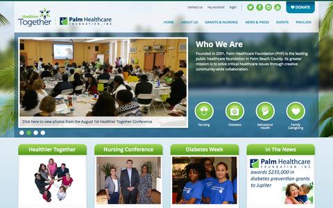 Screenshot of Home Page palmhealthcare.org - Home | Palm Healthcare Foundation - captured Sept. 28, 2015