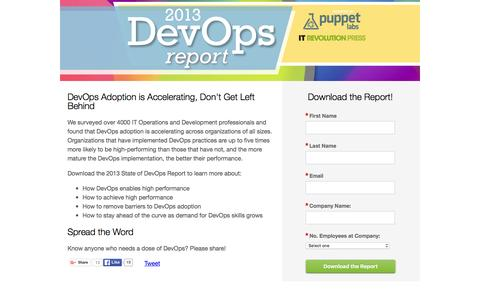 Screenshot of Landing Page puppetlabs.com - 2013 State of DevOps Report | Puppet Labs - captured Feb. 11, 2016