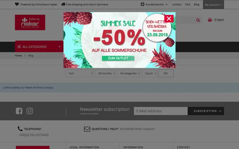 Screenshot of Blog rieker-shop.de - News from Rieker Shop - captured Sept. 22, 2018