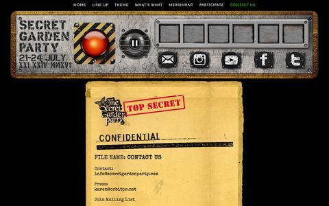 Screenshot of Contact Page secretgardenparty.com - Secret Garden Party 2016 - captured Dec. 4, 2015
